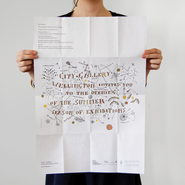 Fold out guide with hand drawn illustrative and typographic detail for City Gallery by Designworks