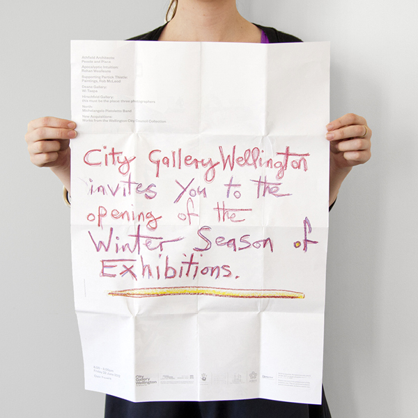 Fold out guide with hand drawn typographic detail for City Gallery by Designworks