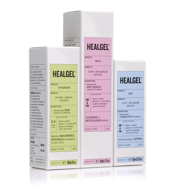 Packaging with pastel colour labels designed by Pentagram for high quality skin care range Healgel
