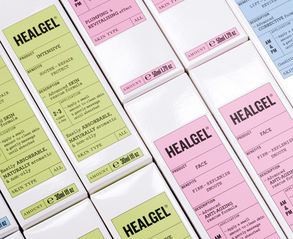 Packaging with pastel detail designed by Pentagram for high quality skin care range Healgel