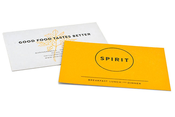 Logo and duplex business card with hand drawn illustrative detail for vegetarian restaurant Spirit designed by Studio Beige