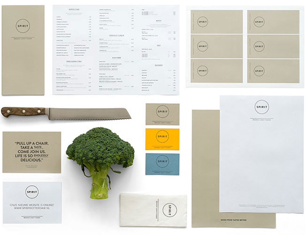 Logo, business card and menus for vegetarian restaurant Spirit designed by Studio Beige