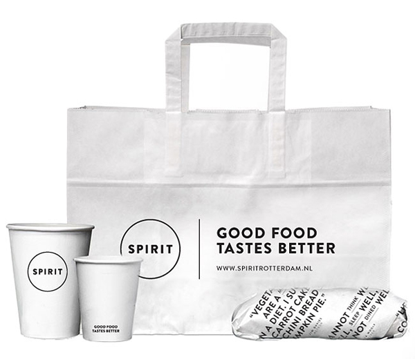Logo and take out packaging for vegetarian restaurant Spirit designed by Studio Beige