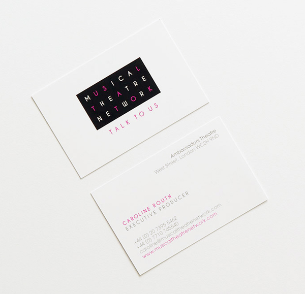 Logo and business card for London-based performing arts supporter Musical Theatre Network designed by Glad