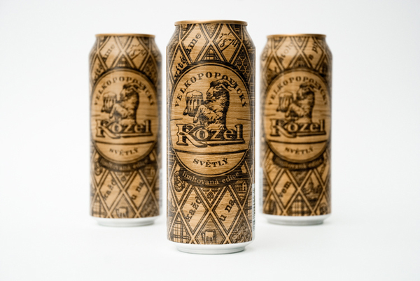 Packaging with heat treated wood effect designed by Yurko Gutsulyak for Czech brewer Velkopopovický Kozel