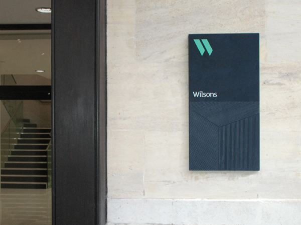 Logo and signage by MyttonWilliams for legal advice firm Wilsons