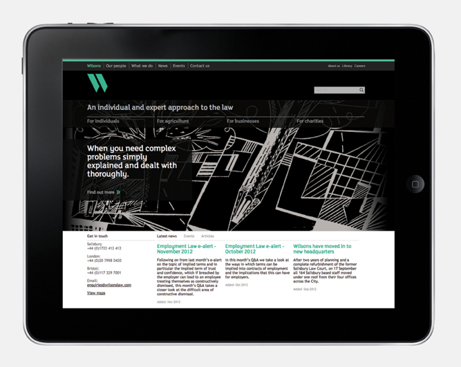 Logo, illustration and responsive website design by MyttonWilliams for legal advice firm Wilsons