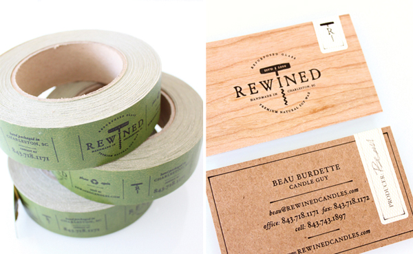 Logo and wood veneer and unbleached paper business card for candle in a wine bottle brand Rewined designed by Stitch