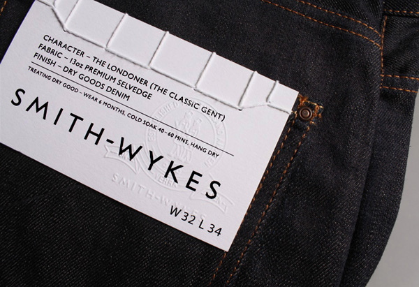 Logo and stitched clothing label for London and Paris-based male fashion brand Smith-Wykes designed by Studio Small