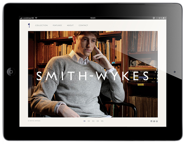 Logo and mobile website for London and Paris-based male fashion brand Smith-Wykes designed by Studio Small