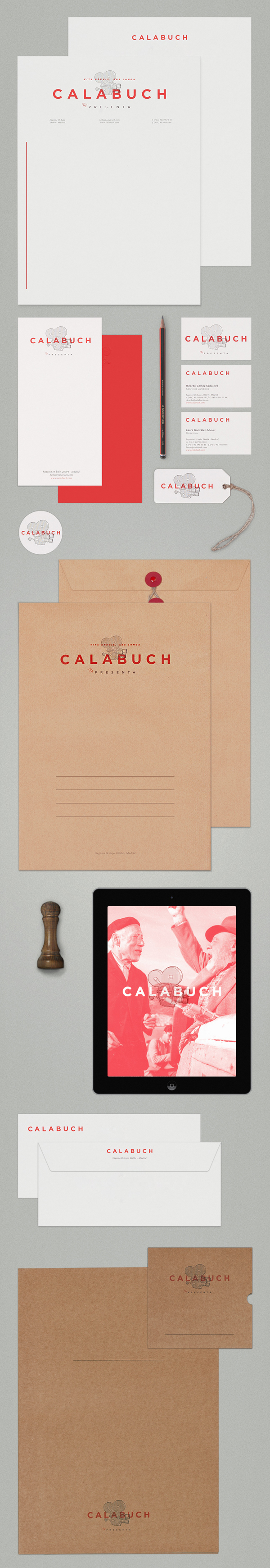 Logo, letterhead, business card and label for Spanish artist management service Calabuch developed by Tres Tipos Graficos