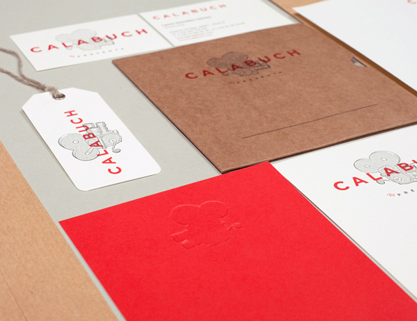 Logo and print with bleached and unbleached papers for Spanish artist management service Calabuch developed by Tres Tipos Graficos