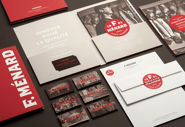 Logo, brochure and stationery for Canadian pork producer and family run butcher F. Ménard designed by lg2boutique