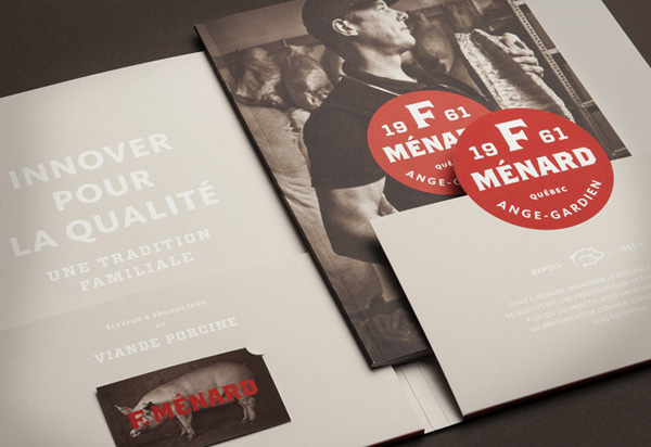 Logo, folder and brochure for Canadian pork producer and family run butcher F. Ménard designed by lg2boutique