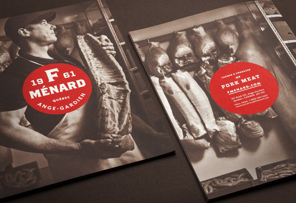 Logo and brochure for Canadian pork producer and family run butcher F. Ménard designed by lg2boutique