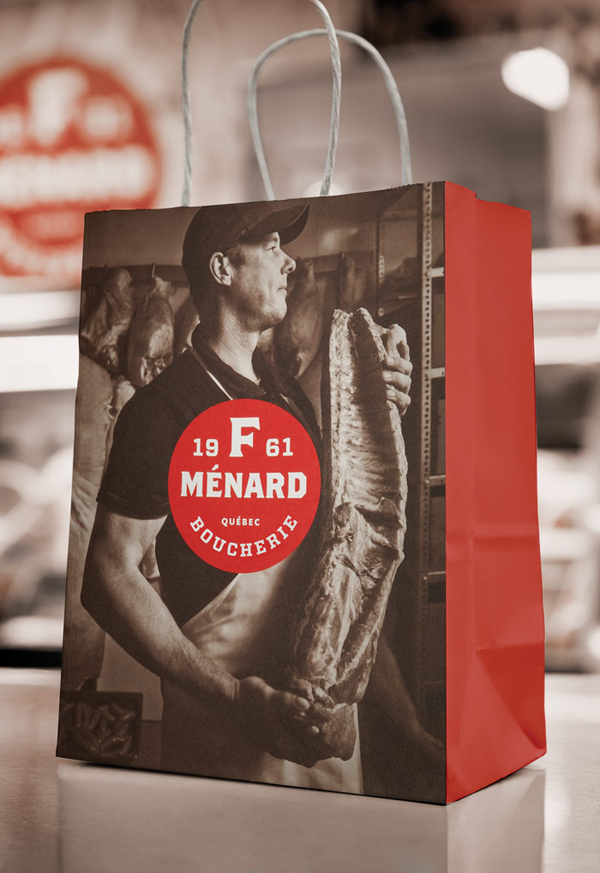 Logo and paper bag with sepia photography for Canadian pork producer and family run butcher F. Ménard designed by lg2boutique