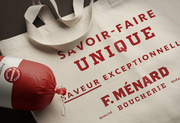 Tote bag with screen printed typography for Canadian pork producer and family run butcher F. Ménard designed by lg2boutique