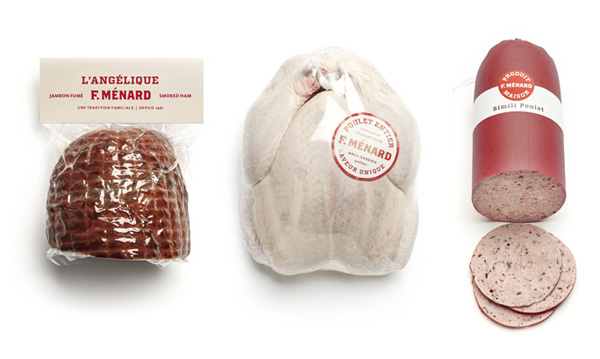 Packaging, labels and stickers for Canadian pork producer and family run butcher F. Ménard designed by lg2boutique