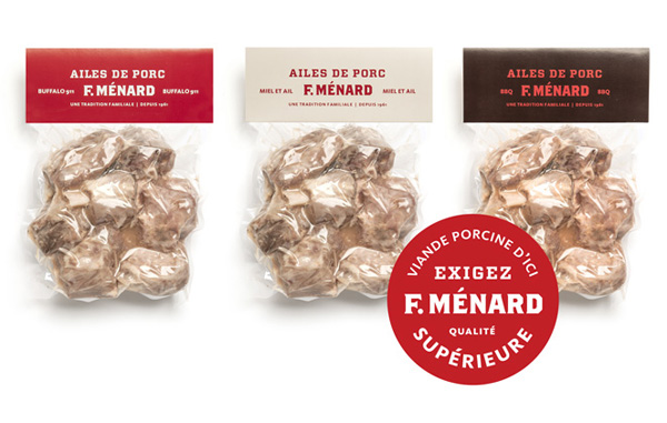 Packaging for Canadian pork producer and family run butcher F. Ménard designed by lg2boutique