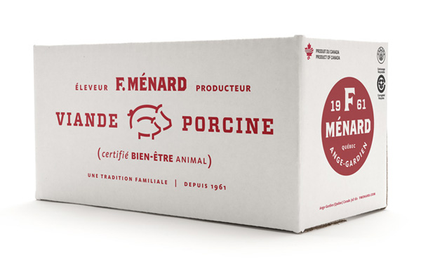 Packaging with single red spot colour and typographical detail for Canadian pork producer and family run butcher F. Ménard designed by lg2boutique