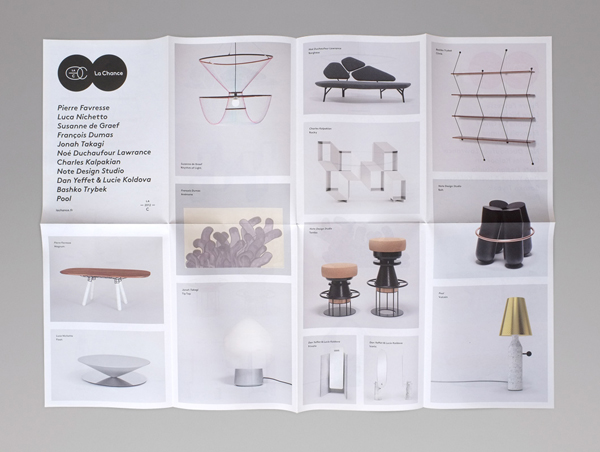 Fold-out catalogue for furniture and lighting company La Chance designed by Artworklove