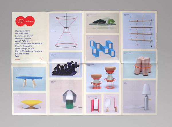 Fold out catalogue for furniture and lighting company La Chance designed by Artworklove