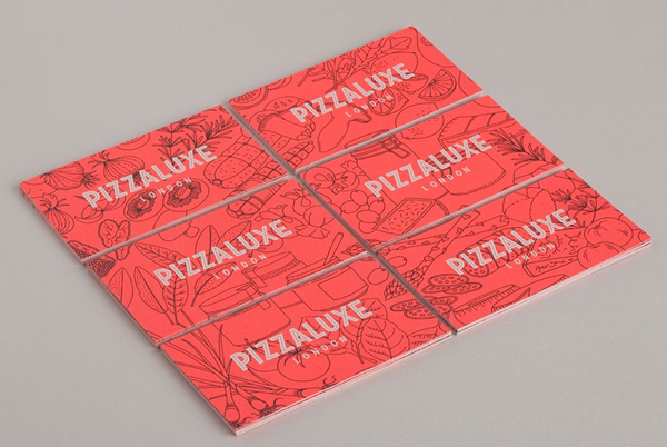 Logo and illustrative business card with neon ink finish for freshly-baked, deluxe pizza restaurant Pizza Luxe designed by Touch
