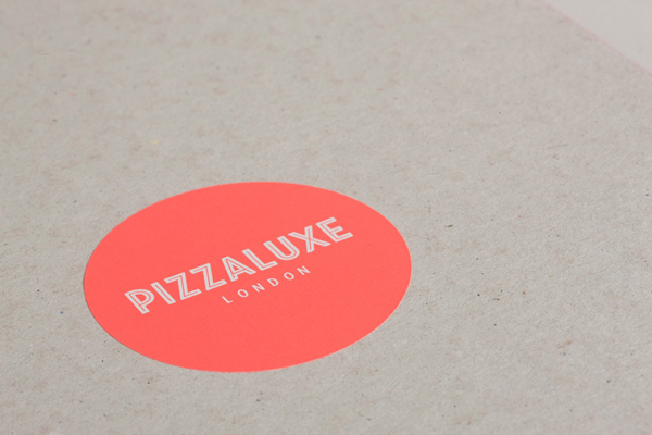 Logo with neon ink finish for freshly-baked, deluxe pizza restaurant Pizza Luxe designed by Touch