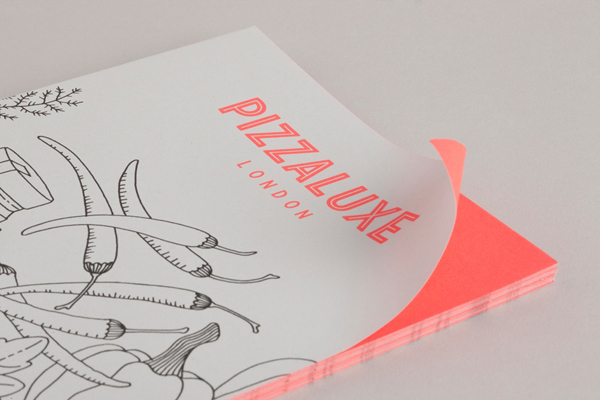Logo and illustrative flyer with neon ink finish for freshly-baked, deluxe pizza restaurant Pizza Luxe designed by Touch