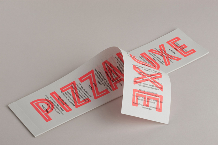 Logo and menu with neon ink finish for freshly-baked, deluxe pizza restaurant Pizza Luxe designed by Touch