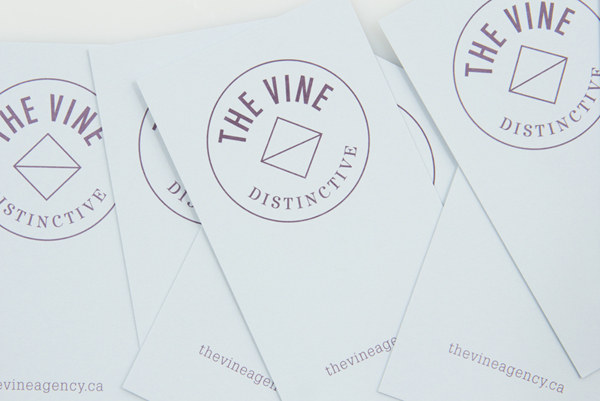 Logo and business card for Italian and Californian wine specialist The Vine created by Blok