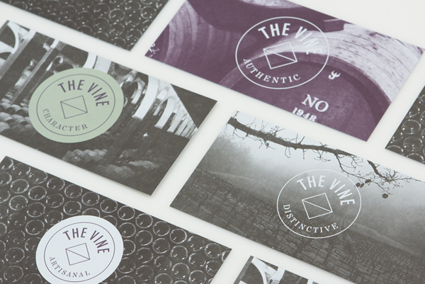 Logo and business card for Italian and Californian wine specialist The Vine designed by Blok