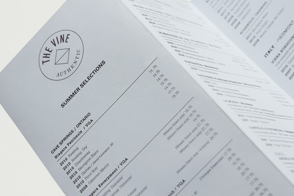 Logo and wine list for Italian and Californian wine specialist The Vine designed by Blok