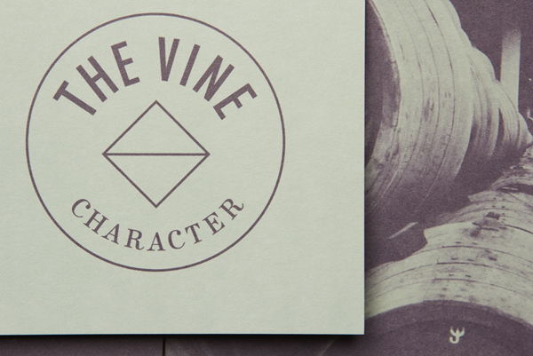 Logo and print for Italian and Californian wine specialist The Vine designed by Blok