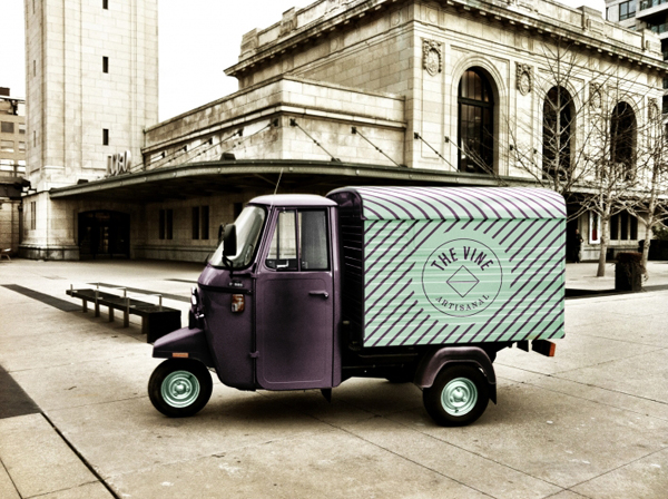 Logo and van livery for Italian and Californian wine specialist The Vine designed by Blok