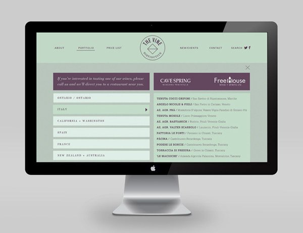 Logo and website for Italian and Californian wine specialist The Vine designed by Blok