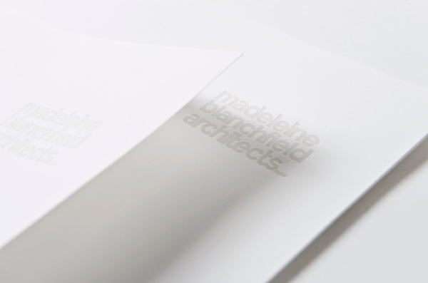 Logo and blind embossed headed paper for Madeleine Blanchfield Architects designed by A Friend Of Mine