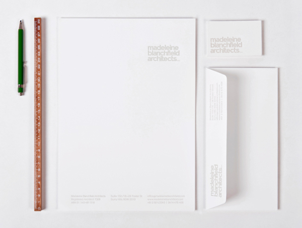 Logo and stationery for Madeleine Blanchfield Architects designed by A Friend Of Mine