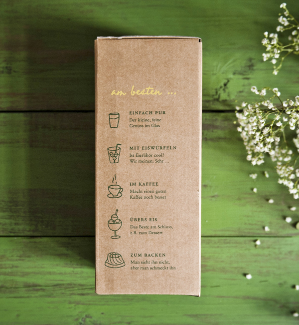 Uncoated, unbleached packaging design by Moodley for egg liqueur Toni's Eierlikoer
