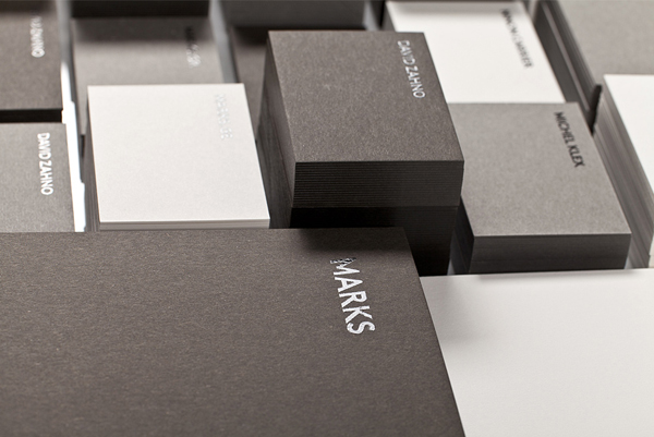 Logo and business cards with black foil detail designed by Marks