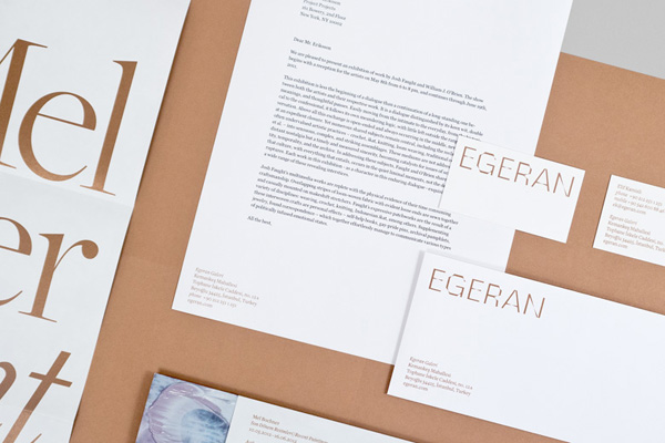 Logo and stationery design by Project Projects for conceptual art gallery Egeran
