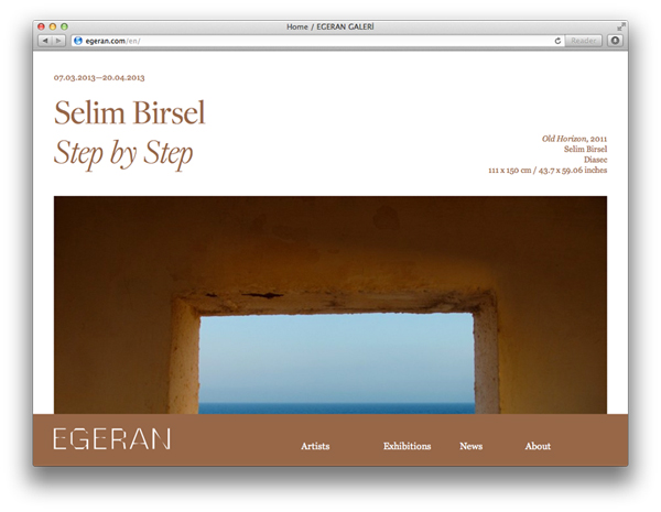 Logo and website design by Project Projects for conceptual art gallery Egeran