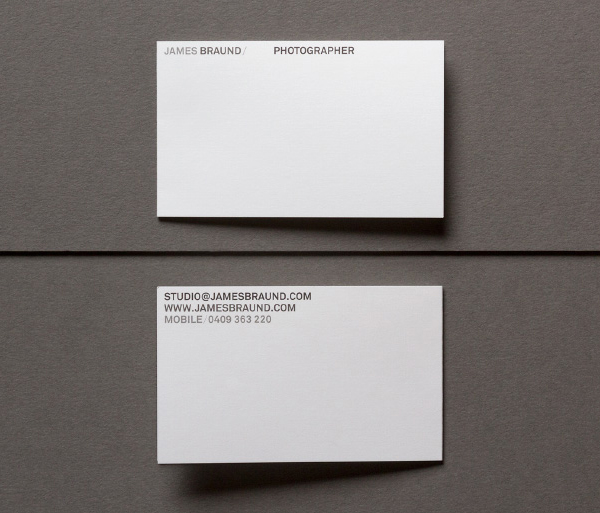 Sans-serif logotype and minimal business card designed by Hofstede for photographer James Braund