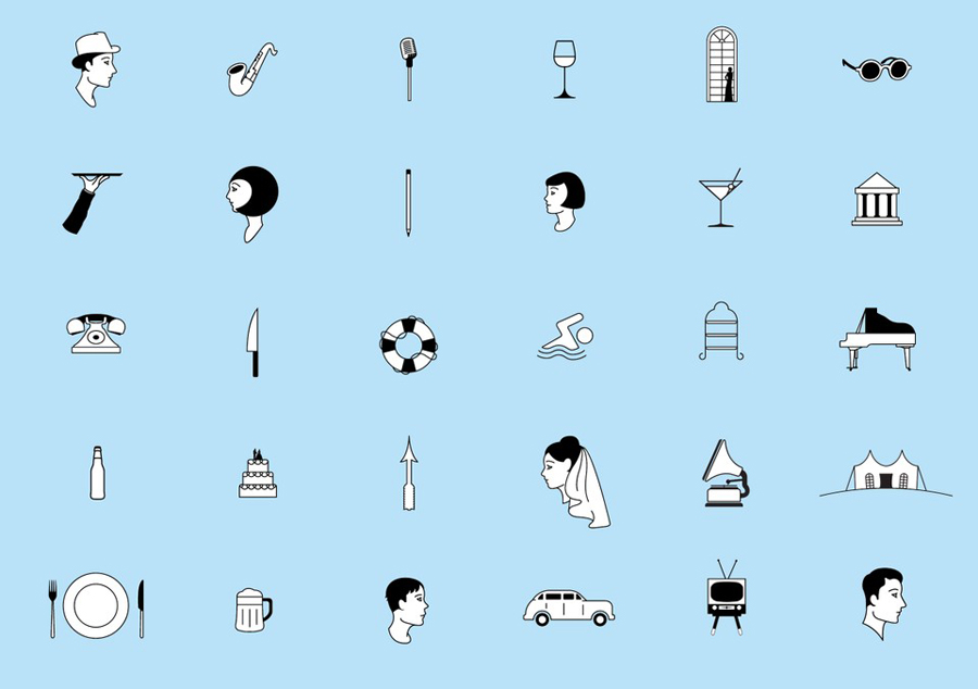 Iconography illustrated by Ryan Romanes for Blue Baths