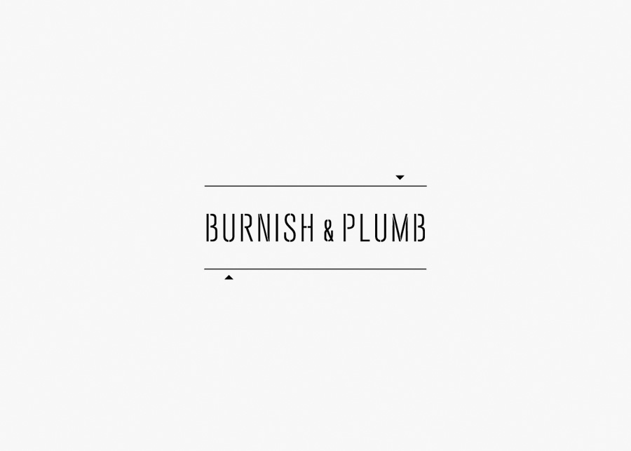 Logo across a rough trade texture designed by FÖDA for Austin based construction firm Burnish & Plumb