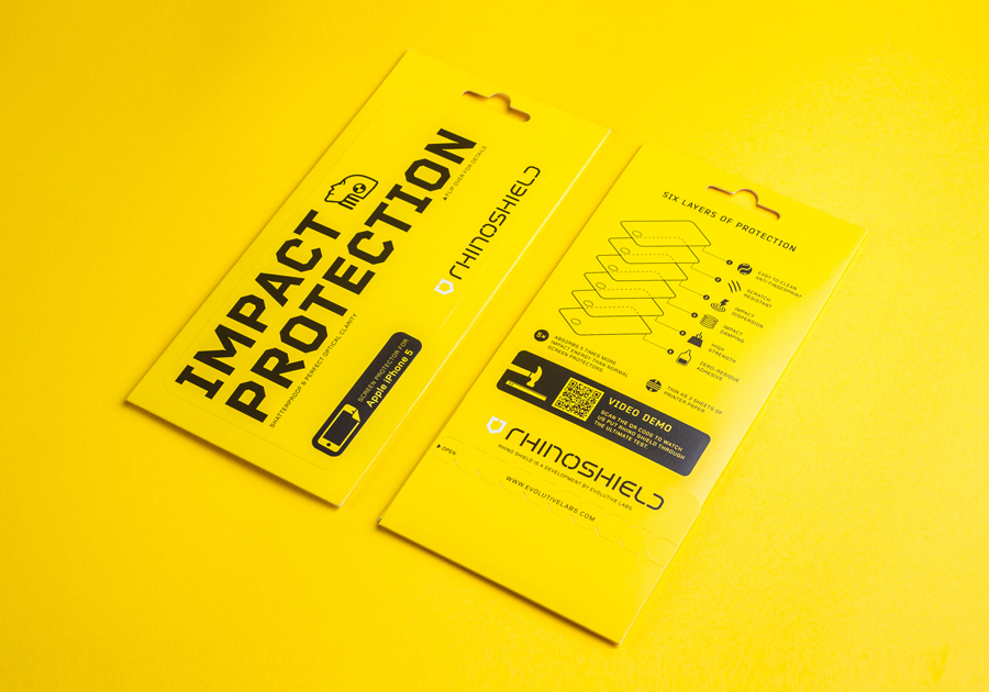 Brand identity and packaging by Bravo Company for high impact screen protector Rhinoshield