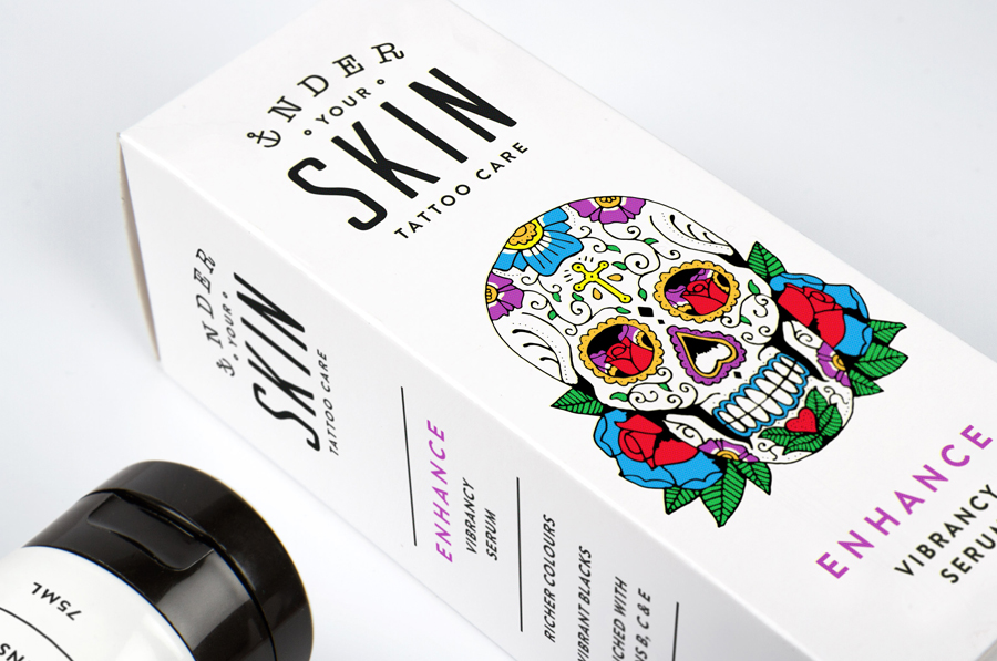 Packaging with bright illustrative detail by Robot Food for tattoo care range Under Your Skin