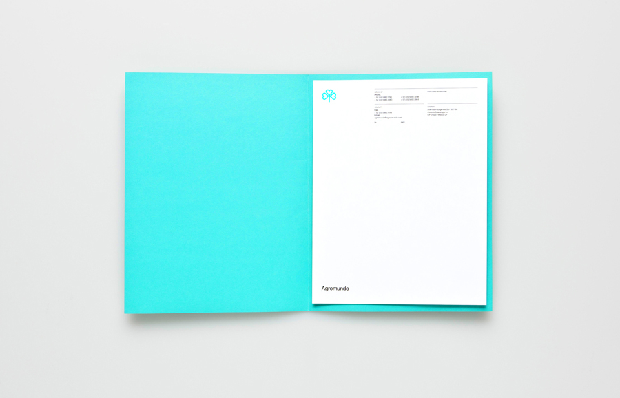 Logo, folder and letterhead with neon turquoise ink detail for pesticide retailer and manufacturer Argromundo designed by Anagrama