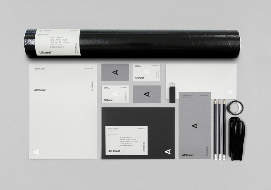 Logo and stationery with white and black foil detail created by Mash Creative for Bahrain-based commercial photographer Ali Sharaf