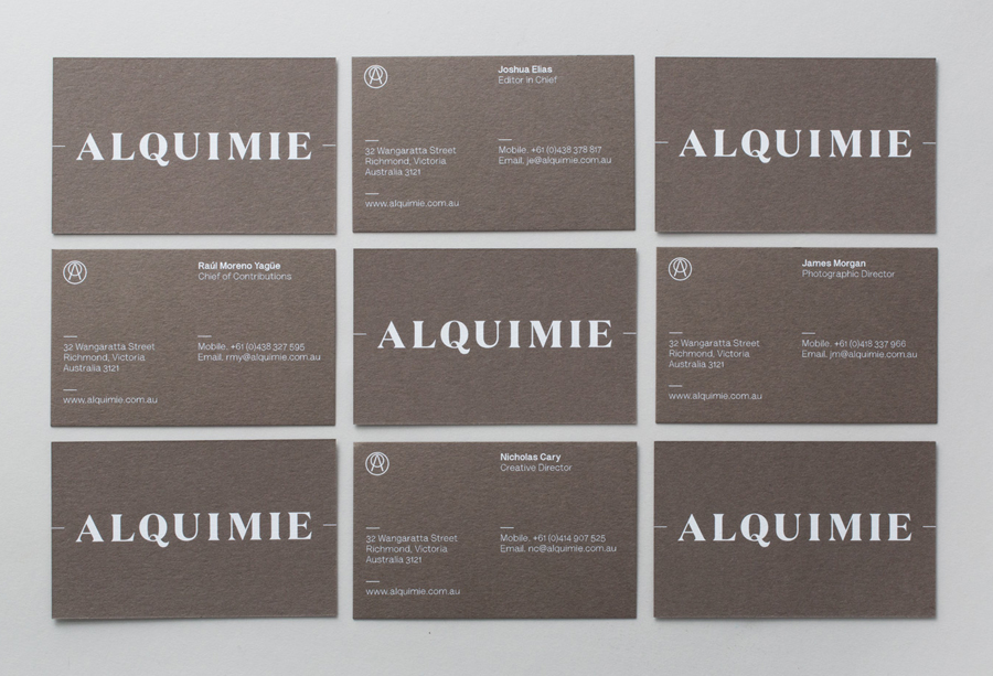 Logotype and white ink, warm grey business card designed by ThoughtAssembly for quarterly beverage magazine Alquimie